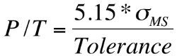 Formula for Gage R&R P/T Ratio.